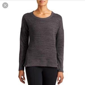 Athleta blissful sharkbite Gray pullover sweater s